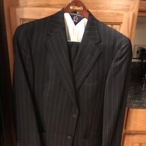 Calvin Klein pinstripe suit.